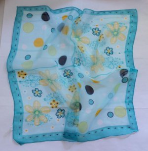 "Gift 20"" Chiffon Neck head Scarf Wrap blue Floral Cute-borders uneven"
