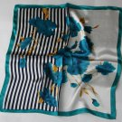 """Gift 20"""" Neck Head Scarf Wrap Teal Flowers Stripes - must read details"""