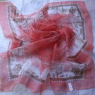 "24"" Chiffon Neck Scarf Wrap Pink White little houses - may have defects"
