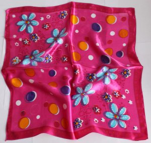 """Gift 20"""" Neck Head Scarf Wrap Shawl Red Blue Flowers - must read details"""
