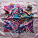 "Gift 21"" Square Neck Head Scarf Wrap Squares Blue Pink"