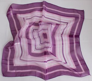 """Gift 20"""" Neck Head Scarf Wrap Checkered Stripes Violet with defects- must read details"""