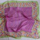 "Gift 24"" Chiffon Silk Neck Head Scarf Wrap Green Small Flowers - 1 uneven border"