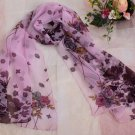 Gift Silk Chiffon Oblong Scarf Violet Floral Fast Shipping