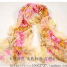 Gift Silk Feeling Chiffon Oblong Scarf flowers Orange & Yellow Fast Shipping