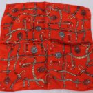 "Gift 20"" Neck Head Scarf Wrap Kerchief Orange Chains with big defects- must read description"