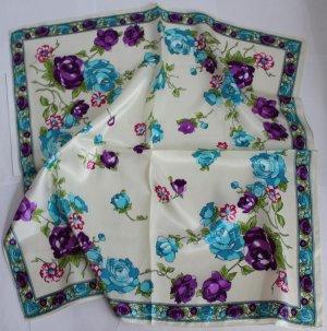 "Gift 24"" silk like Scarf Wrap Shawl Kenchief Bandanna Floral -must read details"