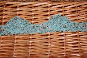 "1.6"" Stretch Lace Trim DIY Floral Aquamarine,1.1 yds/piece, 2 pcs, 2.2 yds in total"