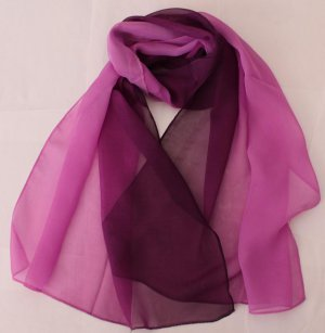 Gift Chiffon Silk Oblong Scarf --- Gradient Violet
