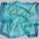 "Gift 24"" Chiffon Neck Head Scarf Wrap Flowers Blue Green - maybe not square"