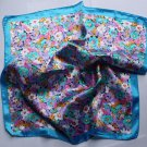 "Gift 20"" Neck Head Scarf Wrap Small flowers Blue borders - uneven borders"