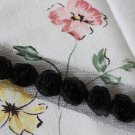 "Rose 3D Lace Trim Flowers Black Rosette on Mesh 1 Yd long 0.59"" wide"