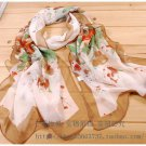 Gift Silk Chiffon Oblong Scarf  Floral Elegant Fast Shipping
