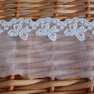 "Lace Trim Embroidered Net Mesh Floral Bow  2.4"" wide 1.5 Yds Fast Shipping"