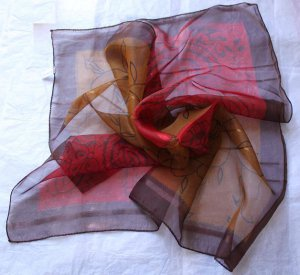 """Gift 21""""  Neck head Scarf Wrap Maroon Bronze Fast Shipping + defects"""