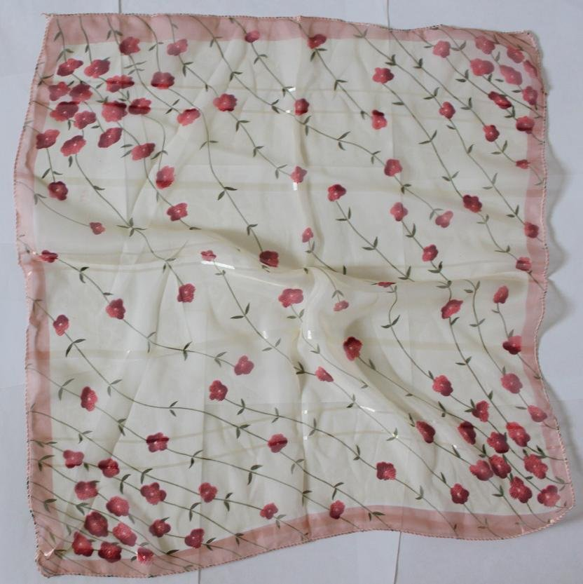 """Gift 20"""" Chiffon Scarf Wrap Sweet Small Flowers - uneven borders"""