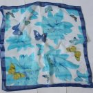 """Gift 21"""" Chiffon Neck head Scarf Wrap Blue Floral - must read details"""
