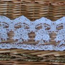 "Fabulous White lace trim Embroidered Floral on Mesh 3.15"" Wide 1 yds Fast Shipping"