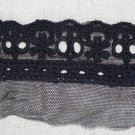"Fabulous black lace trim Embroidered Floral on Mesh Insertion 2.1"" Wide 1.8 yds Fast Shipping"