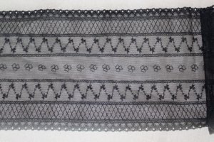 "Fabulous Black lace trim Floral 9.8"" Wide 1.76 yds Fast Shipping"