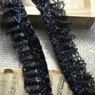"""Beautiful Black Trim Floral 1.4"""" Wide 2 yds Fast Shipping"""