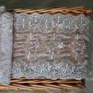 "Lace Trim Embroidered on Mesh Scalloped Floral 5.8"" wide 1.1 Yds Fast Shipping"