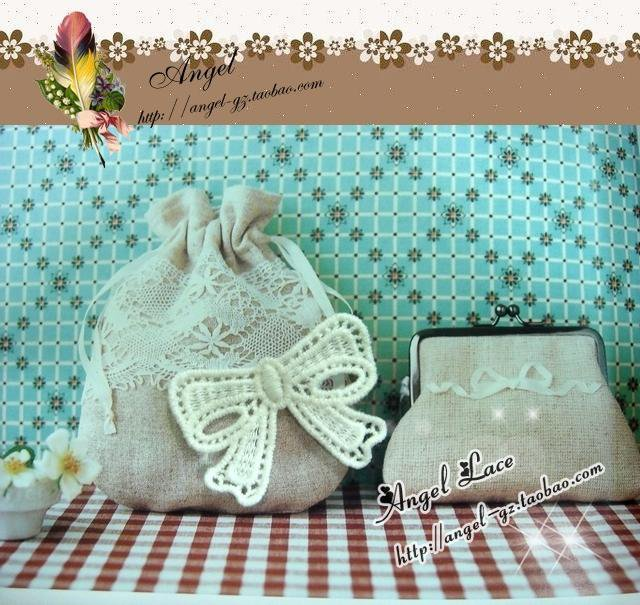 Lovely Cotton Venise Appliques Patch Retro Bow 2 pcs Fast Shipping
