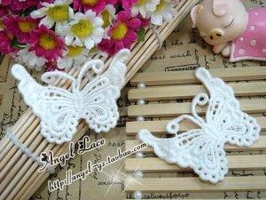 Lovely Cotton Venise Appliques Patch Retro Butterflies 2 pcs Fast Shipping