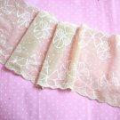 Beautiful Elastic Stretch Lace Trim Jacquard Flowers on Mesh 1.1 yds Fast Shipping