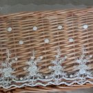 "Fabulous Lace Trim Embroidered Flowers on Mesh Tulle 7.28"" Wide 2 yds Fast Shipping"
