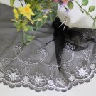 "Fabulous Lace Trim Embroidered Flowers on Mesh Tulle 7.28"" Wide 1.1 yds Fast Shipping"