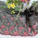 "Lace Trim Embroidered Flowers on Mesh Tulle 7.87"" Wide 1 yds -have color deviation"