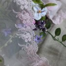 """Fabulous Lace Trim Embroidered Floral + bows  3"""" Wide 1.89 yds Fast Shipping"""
