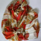 Elegant Large Chiffon Oblong Scarf Wrap Chains Orange-red Fast Shipping