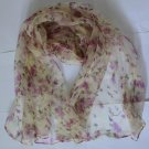 Gift 100% Silk Neck Head Scarf Wrap Belt Floral Sprigs Fast Shipping