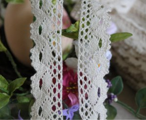 """Beautiful Crocheted cotton lace trim 0.94"""" Wide 5 yds Fast Shipping !"""