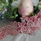 Gorgeous Embroidered Flowers Red Lace Appliques Patches 1 pair Fast Shipping