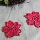 Lovely Pink Embroidered Flower Appliques Patches 2 pcs Fast Shipping