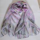 Beautiful Silk Like Chiffon Oblong Scarf - Gorgeous Fast Shipping