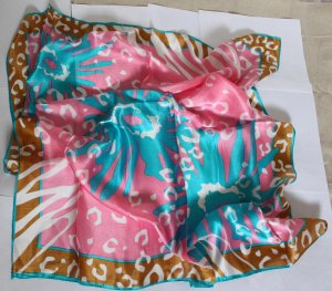 Gift Large 100% Silk Scarf Wrap Bandana Kerchief Beautiful Fast Shipping