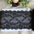 "Elastic Stretch black lace trim Floral Scalloped Edge Eyelash 7.5"" Wide 1.1 yds"
