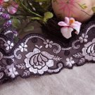 "Fabulous Lace Trim Embroidered Floral on Mesh Tulle 2.4"" Wide 1.5 yd Fast Shipping"