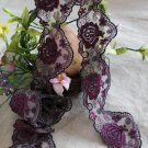 Fabulous Lace Trim Embroidered Floral on Mesh Tulle 1.34 yd Fast Shipping