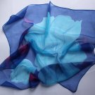 """Gift 24"""" Chiffon Silk Neck Head Scarf Wrap Blues - defects"""