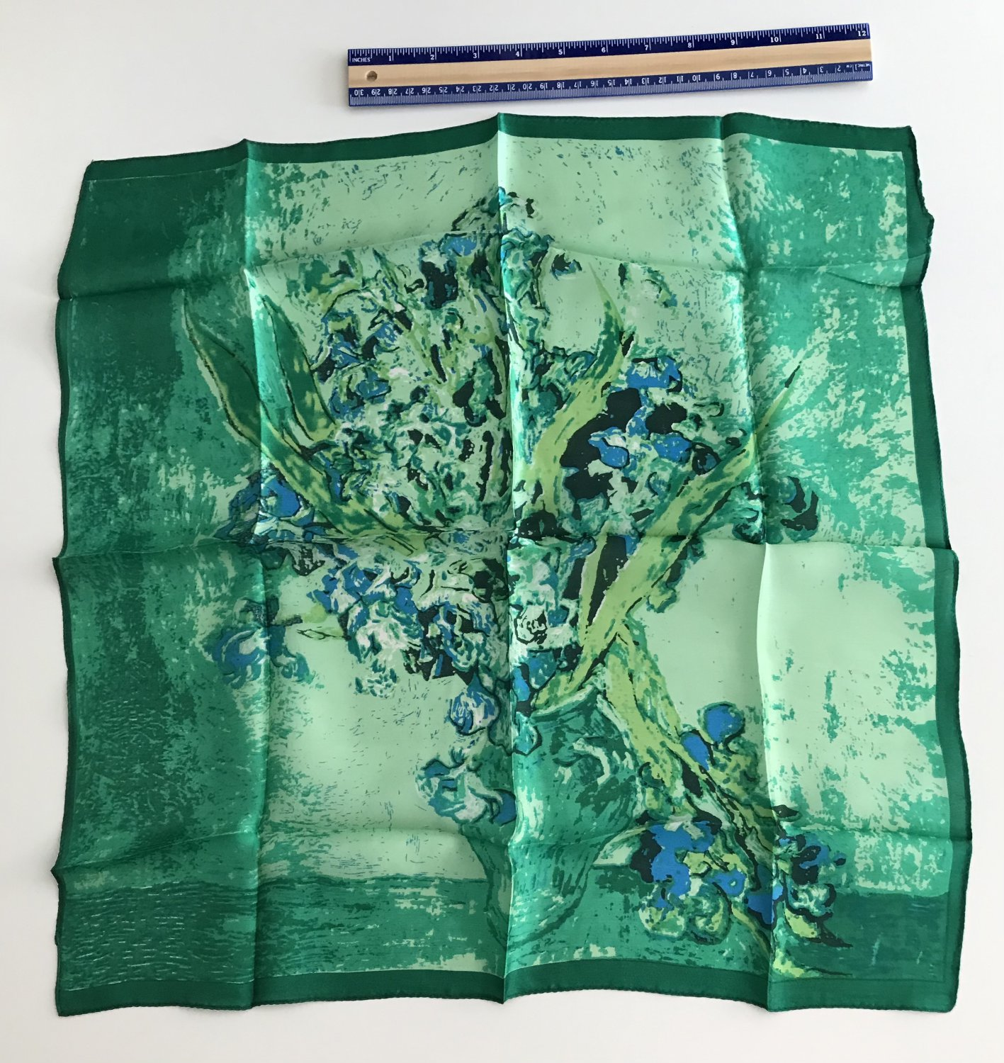 """Gift 20"""" 100% Silk Neck Head Scarf Kerchief Art Vincent van Gogh Irises-exactly scarf in picture"""
