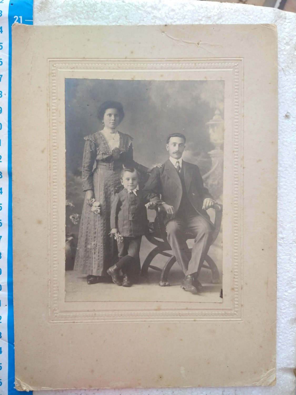 Antique Photo Photography Woman Man Family Boy on Cardboard #10