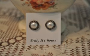 Pearl and Silver Button Post Earrings