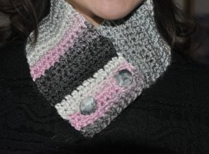 Neck Warmer - Gray, White, Pink, and Black