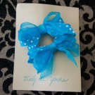 Two Turquoise Blue Double Hair Bow Barrettes