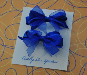 Two Royal Blue Double Hair Bows Barrettes